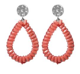Biba oorbellen. Druppelvorm + kraaltjes. Zilver - koraal (oranje)