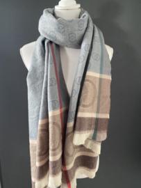 Langwerpige super zachte sjaal. Gucci style. Blauw-grijs / bruin.