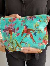 Mooie fluwelen clutch / toilettas van Imbarro. Vogel / bloemenprint. Donker Aqua blauw/groen