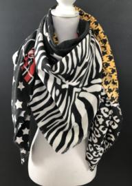 Grote vierkante super soft sjaal, Dessin blokken zwart - wit - rood - okergeel -