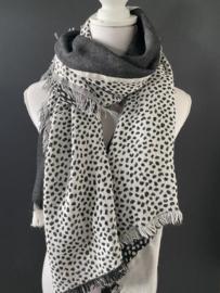 Lichtgewicht langwerpige cheetah sjaal. Dubbelzijdig. Donker Grijs