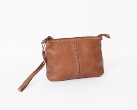 "Bag 2 Bag clutch / tasje, ""Lucia.""  écht leer. Limited Edition. Brown"