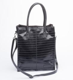 Kartel bag - tas  van ZEBRA. Half glans CROCO. Zwart. Hoog model + mini laptop vak
