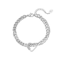 RVS (stainless steel) armband, dubbellaags, fijne schakel met hart . Grove schakel. Zilverkleurig