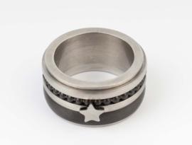 Ring  van RVS - combi zwart. Ster.