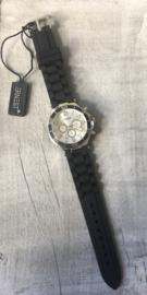 Horloge Ernest, Black-Silver witte plaat.