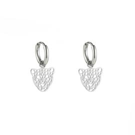 """RVS oorbellen (stainless steel), mini """"open"""" luipaard aan ringetje. zilverkleurig."""