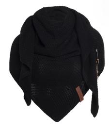 Sjaal/omslagdoek Coco van het mooie merk Knit Factory. Zwart