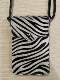 Vacht telefoon tasje. écht leer. Zebra. Zwart-Wit.