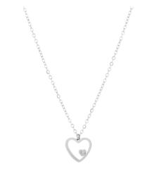 RVS (stainless steel) kettinkje hartbedel mini steentje. Zilverkleurig