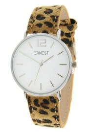 Horloge Hairy Leopard print  band. Bruin  -  zilverkleurig.