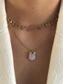 By Jam, RVS (stainless steel) ketting, 2 laags. Goudkleurig met roze natuursteen.