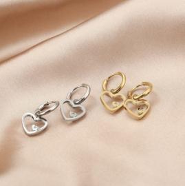 RVS (stainless steel) oorbellen, creolen met hart hanger mini steentje. Goudkleurig.