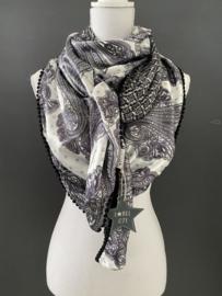 Lila satijn groot Paisley dessin / grafisch dessin. Couture sjaal.