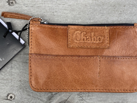 "Chabo mini portemonnee, écht leer. ""Coin-wallet"" Camel - cognac bruin"