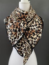 Dubbel panter dessin, groot en klein, couture sjaal.