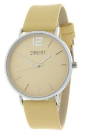 Horloge Ernest,  stijlvol. Gladde band. Mais geel  - zilver.