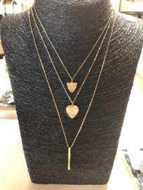 RVS (stainless steel) ketting met hart-panter reliëf. Goudkleurig.