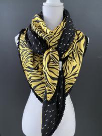 Tijger dessin, felgeel  / zwart-wit mini bliksem dessin couture sjaal.