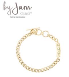 By Jam RVS (stainless steel) armband, grove schakel met  tekst Sisters. Goudkleurig