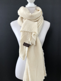 Extra lange soft sjaal Plissé (ribbel) Wolwit.
