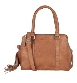 """Chabo bags tas, écht leer. """" Kit sis """" met tashanger. Cognac / Camel"""