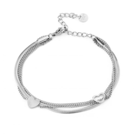 Stainless steel armband, hartjes, 3 laags. Zilver.