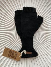 Knit Factory, gebreide handwarmers / wanten zonder vingers. Zwart