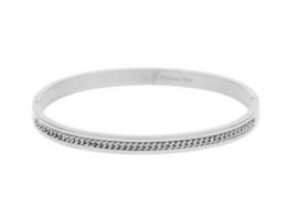 "RVS (stainless steel) armband. (Bangle) ingelegd met ""ketting"". Zilverkleurig."
