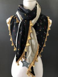 Stars & Love / mini stip, Okergeel kwastenband. Couture sjaal.