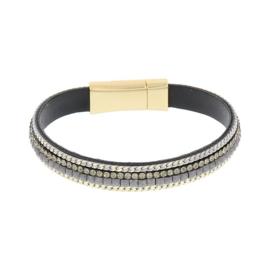 BIBA armband van Pu met kraaltjes. Donkergrijs-goud combi. Goudkleurige sluiting