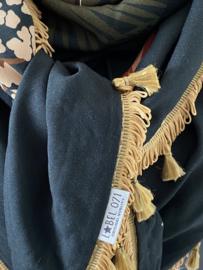 Groen - herfstkleuren / okergeel dieren dessin,  Couture sjaal.