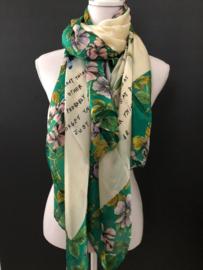 Grote langwerpige sjaal. Zijde-touch. Prachtige bloemen- en tekst print. Ecru / Groen
