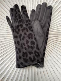Handschoenen, stretch suedine. Luipaard / panter. Grijs.