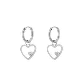 RVS (stainless steel) oorbellen, creolen met hart hanger mini steentje. Zilverkleurig..