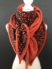 Super grote, zachte 3-hoek sjaal. Panter. Volwassen maat. Brique rood / terra
