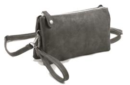 Clutch / kleine tas New York,  met drukknoop. Donkergrijs