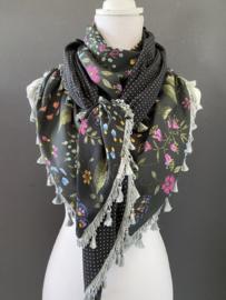 Fantastische kleurige bloemen print  / mini stip,  couture sjaal.