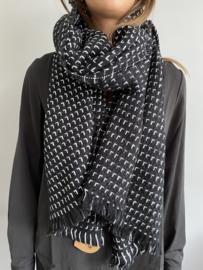Grote Langwerpige super soft sjaal. Zwart-Wit.