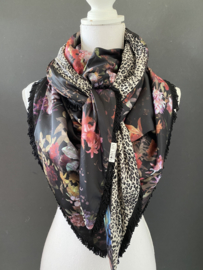 Oude Meesters bloemen print look-a-like  / mini panter print grijs,  couture sjaal.