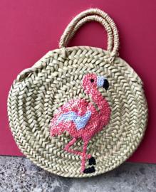 Kids roundie bag Flamingo. Palmgras met pailletten.