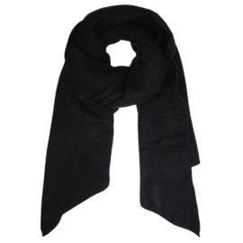 Langwerpige  super soft sjaal. Uni zwart.
