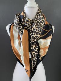Groot dessin okergeel - ecru - zwart / giraf dessin,  couture sjaal.