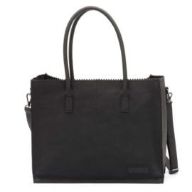 Kartel bag - tas van ZEBRA. Horizontaal model. Suedine. Zwart.