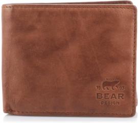 """Bear Design. Heren portemonnee """"billfold"""" écht leer. Cognac bruin."""