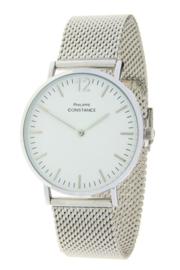 Horloge Philippe Constance,  Zilverkleurig. RVS band! Witte plaat.