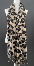 Langwerpige super soft sjaal . Luipaard, grote print. Bruin