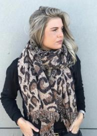 Langwerpige dikke A-symmetrische super soft sjaal. Panter - luipaard. Bruin.