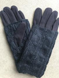 Handschoenen, dubbel deel brei, kabel grof. Navy blauw