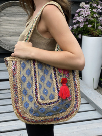 Jute patchwork tas,  Ibiza style. Half rond model. Multicolour.